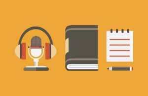 Vector flat objects for audio podcast - vector illustration